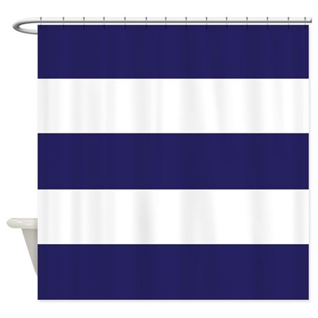 Nautical Navy Blue Stripes Shower Curtain By Classof Tshirts
