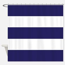 Nautical Navy Blue Stripes Shower Curtain