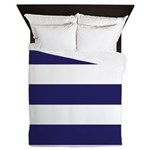 Nautical Navy Blue Stripes Queen Duvet