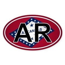 Ar - Arkansas Oval Car Sticker Flag Design