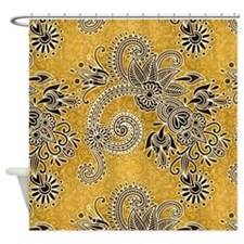 Gold floral Shower Curtain