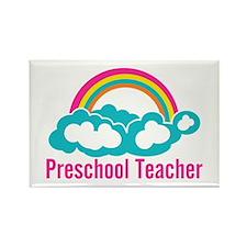 Preschool Teacher Rainbow Cloud Rectangle Magnet