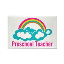 Preschool Teacher Rainb Rectangle Magnet (10 pack)