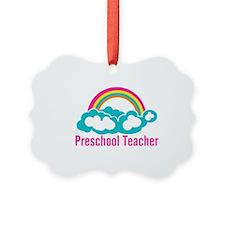 Preschool Teacher Rainbow Cloud Ornament