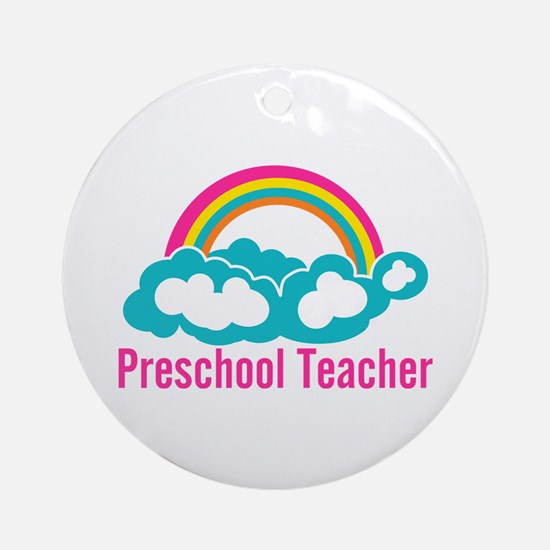 Preschool Teacher Rainbow Cloud Ornament (Round)