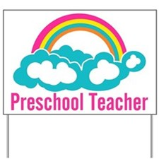 Preschool Teacher Rainbow Cloud Yard Sign