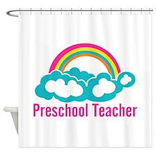 Preschool Teacher Rainbow Cloud Shower Curtain