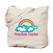 Preschool Teacher Rainbow Cloud Tote Bag