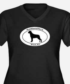 ROTTWEILER Women's Plus Size V-Neck Dark T-Shirt