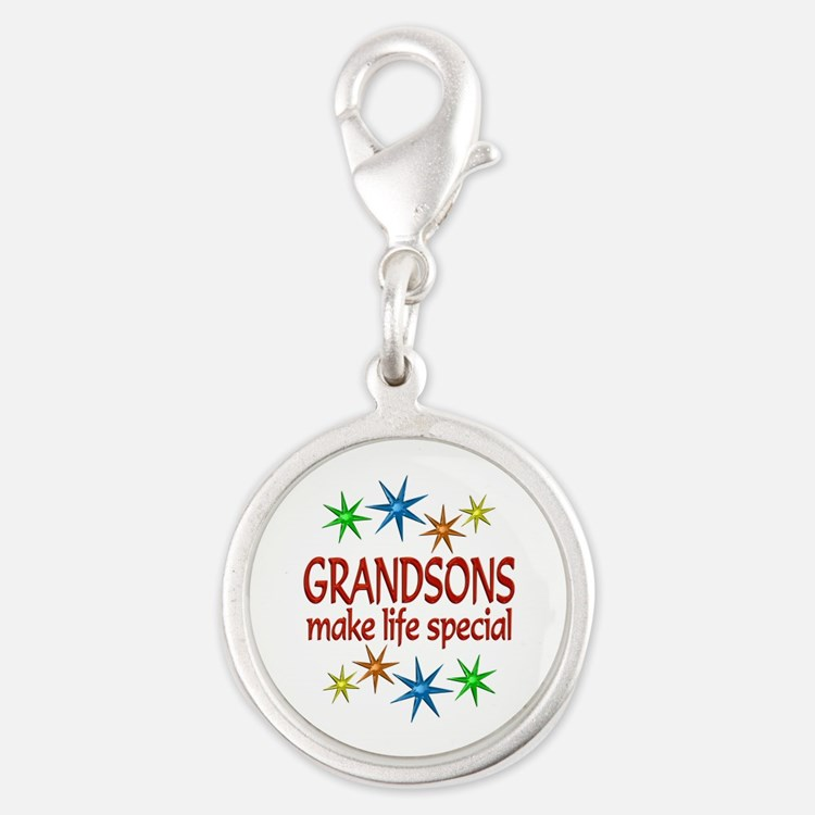Special Grandson Silver Round Charm