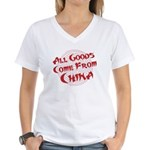 All Goods Come From China Women's V-Neck T-Shirt