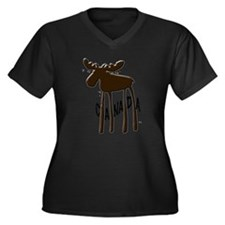 Canada Moose Women's Plus Size V-Neck Dark T-Shirt