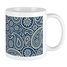 Navy Blue And Cream Vintage Paisley Pattern Mugs