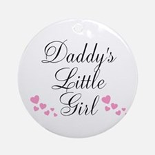 Daddys Little Girl Pink Hearts Ornament (Round)