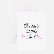 Daddys Little Girl Pink Hearts Greeting Cards