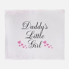 Daddys Little Girl Pink Hearts Throw Blanket