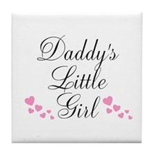 Daddys Little Girl Pink Hearts Tile Coaster