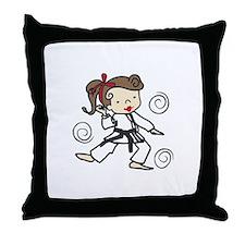 Karate Girl Throw Pillow