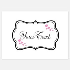 Personalizable Pink Hearts in Black Invitations