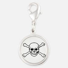 Skull & Crossbones Silver Round Charm