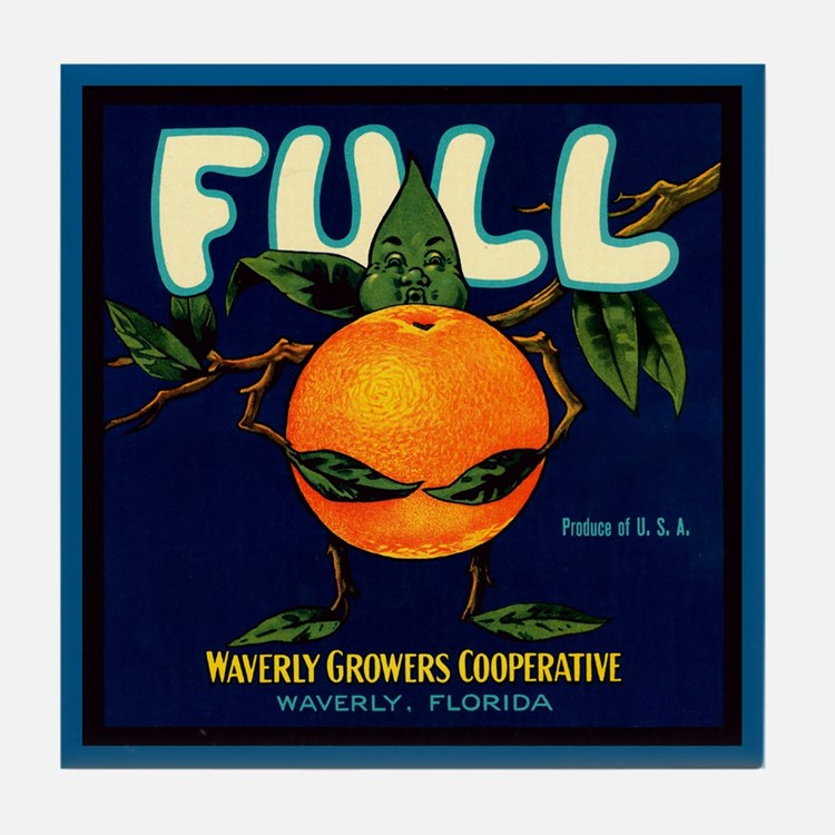 Full Brand Oranges Vintage Tile Coaster