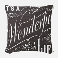 vintage holiday chalkboard art Woven Throw Pillow