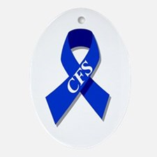 CFS Awareness blue ribbon Oval Ornament