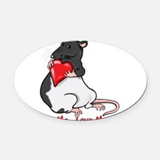 ratheartblkhd.png Oval Car Magnet
