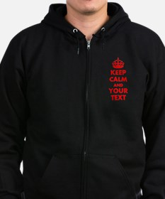 Personalized Keep Calm and carry Zip Hoodie