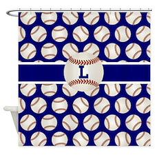 Baseball Blue Monogram Shower Curtain