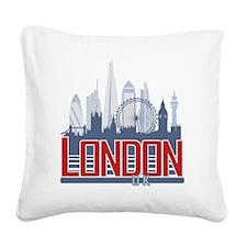 Cute London Square Canvas Pillow