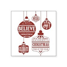 modern vintage Christmas ornaments Sticker