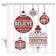 modern vintage Christmas ornaments Shower Curtain