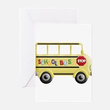 cute yellow school bus Greeting Cards
