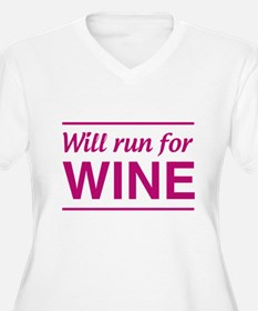 Will run for wine Plus Size T-Shirt