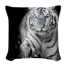 White Tiger Woven Throw Pillow