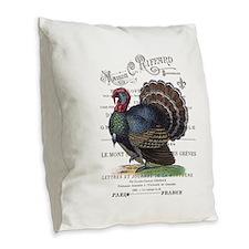modern vintage fall turkey Burlap Throw Pillow