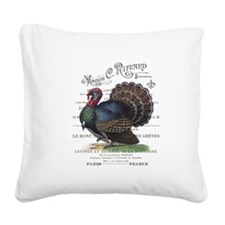 modern vintage fall turkey Square Canvas Pillow