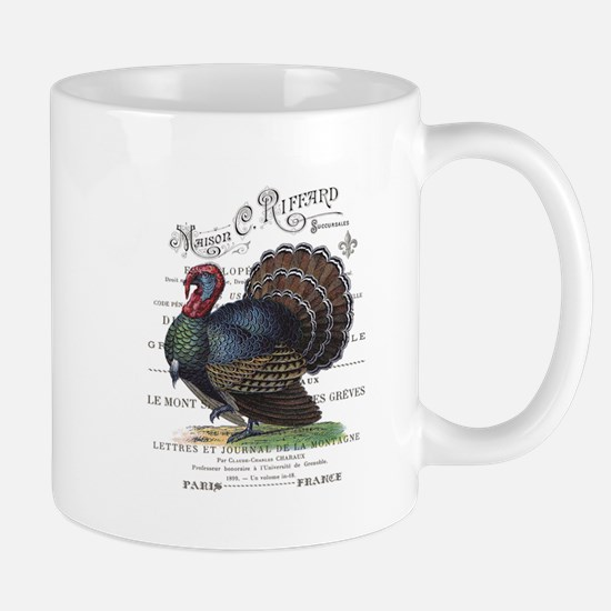 modern vintage fall turkey Mugs
