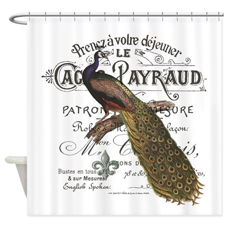 modern vintage fall peacock Shower Curtain