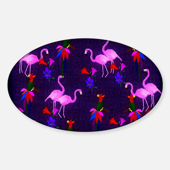 Pink Flamingos and Tropical Birds Sticker (Oval)