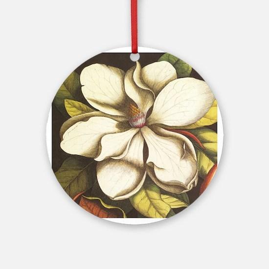 modern vintage fall magnolia flower Ornament (Roun