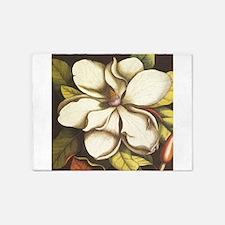 modern vintage fall magnolia flower 5'x7'Area Rug