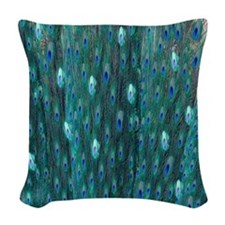 Shining Peacock Feathers Woven Throw Pillow