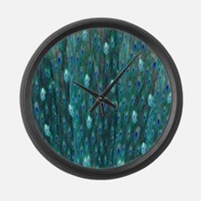 Shining Peacock Feathers Large Wall Clock