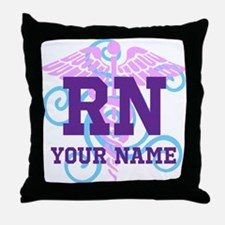 RN swirl with personalized name Throw Pillow