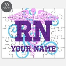 RN swirl with personalized name Puzzle