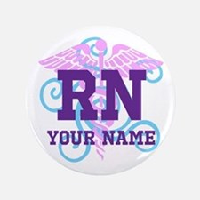 "Rn Swirl With Personalized Name 3.5"" Button"