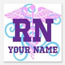 """Rn Swirl With Square Car Magnet 3"""" X 3"""""""