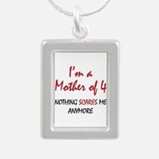 Nothing Scares Mom 4 Silver Portrait Necklace